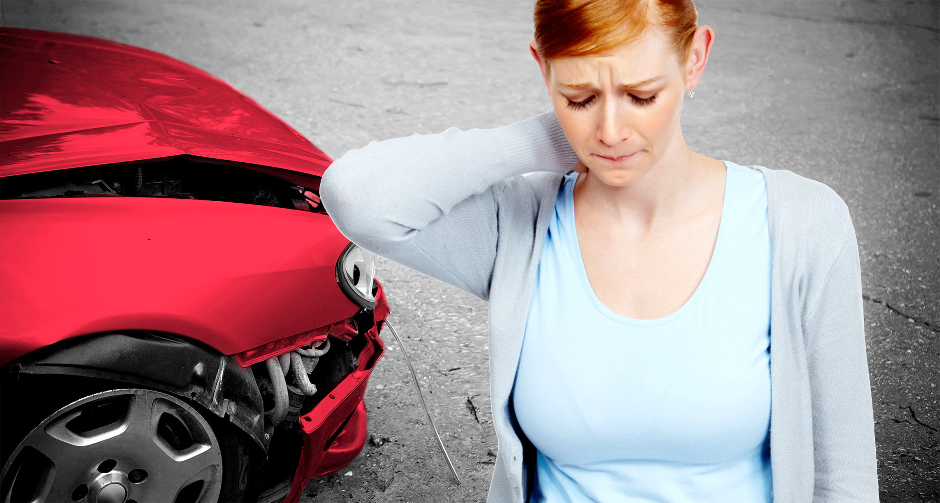 Woman with whiplash from a car accident